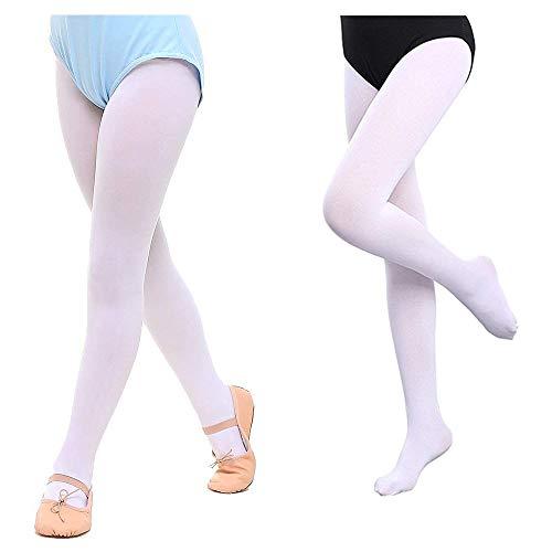 Mangotree 2 Pack Mädchen Ballett Strumpfhose Ultra-weiche Ballett Tanzstrumpfhose Übergang Strumpfhosen Professionelle Tanz Leggings Microfaser 120DEN (XL (7-10 Jahre alt), Weiß + Weiß) -