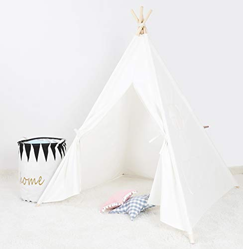 BLITSR [Tipi Zelt] Indianerzelt für Kinder - für Kinderzimmer - Wigwam 140x120x120 cm - Tipi Tent Baumwollsegeltuch - Für in und um Ihr Haus - mit 4 Holzstangen und Fenster - Weiß - Mädchen-kinderzimmer-thema