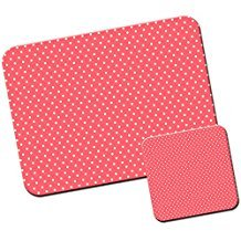 Dotty Flower (Rot & Pink Pretty Flower Mustern/Mauspad und Untersetzer Set Pretty In Dotty Pink)