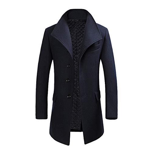 YOUTHUP Herren Wollmischung Mantel Slim fit Warmbody Windbreaker Business Winter Jacke, Blau, L