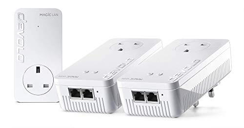 Price comparison product image devolo Magic 1 WiFi: powerful Powerline Whole Home-Kit with WiFi function,  up to 1200 Mbps WiFi ac,  2x Fast Ethernet LAN port,  integrated electrical socket,  mesh WiFi,  access point,  white