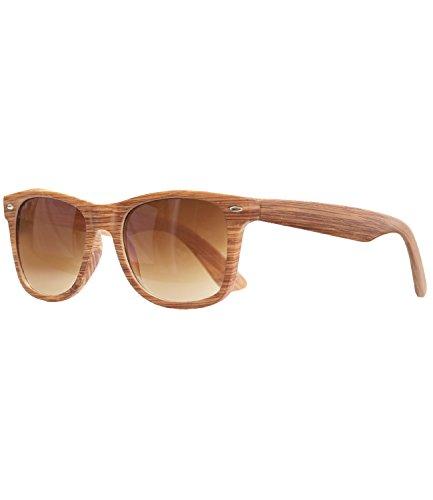 af7db563defd89 caripe Wayfarer Retro Nerd Vintage Sonnenbrille verspiegelt Damen Herren-  SP (Holzoptik natur - braun getönt-525X)