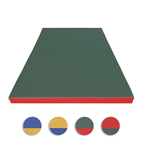 NiroSport Turnmatte 150 x 100 x 8 cm Gymnastikmatte Fitnessmatte Sportmatte Trainingsmatte Weichbodenmatte Wasserdicht Grün/Rot