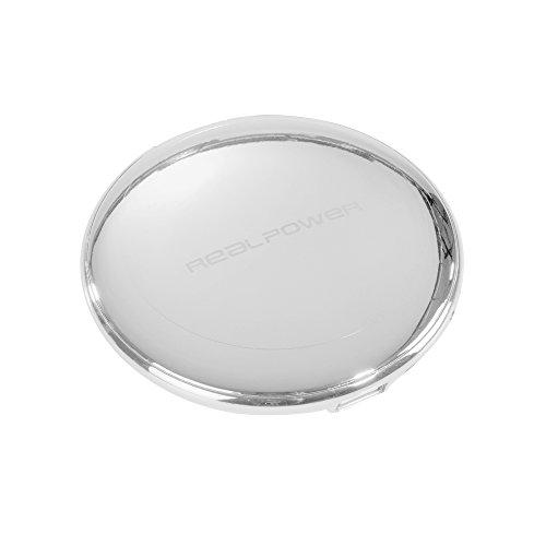 REALPOWER PB 7000 Powerbank 5.000 mAh Ladies Edition mit Schminkspiegel im Deckel Silber