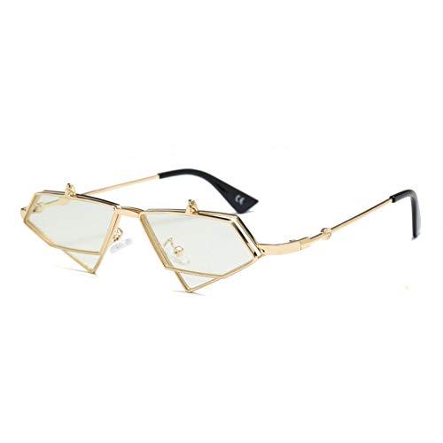 Kjwsbb Flip Up Sonnenbrille Männer Vintage Klar Rot Blau Gold Metallrahmen Dreieck Sonnenbrille Für Frauen Sommer