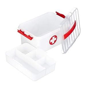 Relaxdays Medizinbox, Einlegefächer, Erste Hilfe Box zur Medikamentenaufbewahrung, Kunststoff, HBT: 21x30x14,5 cm, weiß