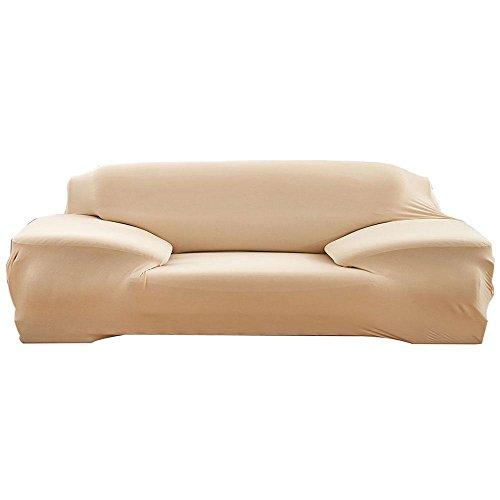 Aolvo modern sofa slipcover, stile europeo elastico morbido poliestere elasticizzato spandex soggiorno sofa furniture protector cover–nero–1seat, beige, 4 seat
