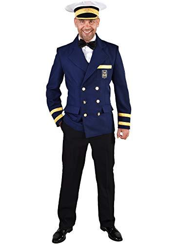narrenkiste M219230-L blau Herren Kapitänsjacke Kapitäns Kostüm Sakko Jacket - Marine Offizier Uniform Kostüm
