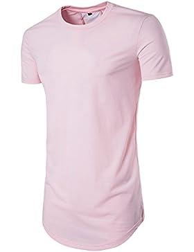YCHENG Hip Hop Camiseta Larga Hombre Manga Corta Asimétrico Espalda Contraste Hipster T-shirt
