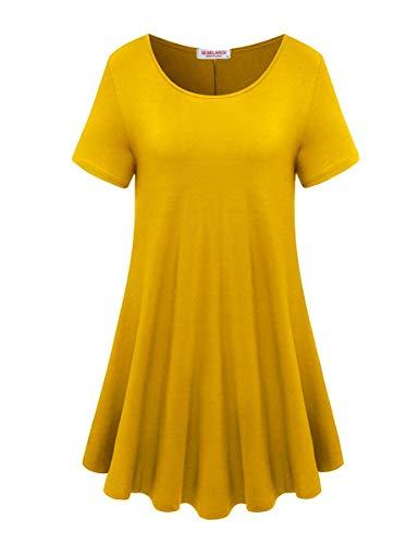 BELAROI Sommer T-Shirt Damen Oberteil Tunika Kurzarm Bluse Tops Basic Tee Shirt Tshirts Casual Lose Swing Einfarbig (Top Swing T-shirt)
