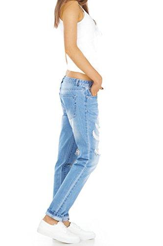 bestyledberlin Relaxed Fit Damen Jeans, Baggy Jeanshosen, Destroyed Style Boyfriend Jeans j60kw-1 38/M -