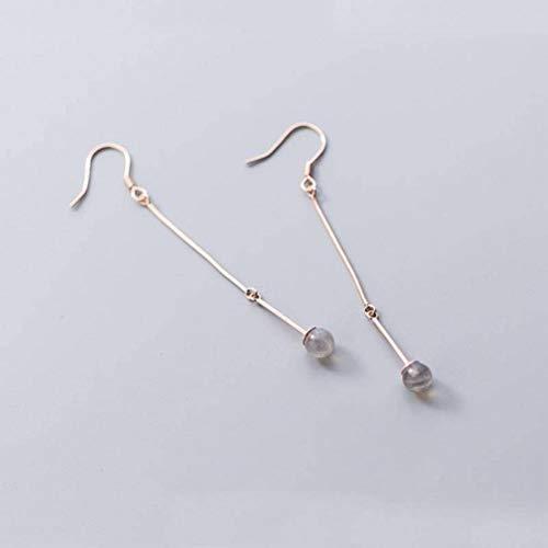 Moonstone S925 Silber Ohrringe Weiblichen Japanischen und Koreanischen Stil Mode Persönlichkeit Mondstein Ohrringe Temperament Süße Wort Ohrschmuck, Rotgold, 925er Silber