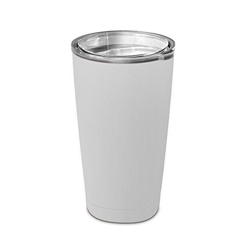 Geo Trinkbecher, doppelwandig, Vakuumisoliert, Edelstahl, 0,8 ml, für Reisen, Kaffeetasse/Wasserflasche, breite Öffnung, mit BPA-freiem, kristallklarem Deckel (weiß)