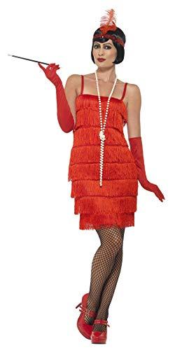 Smiffys 45499M, Damen Flapper Kostüm Kurzes Kleid Haarband und Handschuhe,rot,40-42(Herstellergröße:M) (Für Erwachsene Fashion Flapper Kostüm Rot)