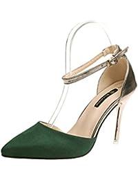 LBDX Sommer koreanische Version Mode spitzen flachen Mund High Heels Perle weibliche Sandalen (Farbe : Beige