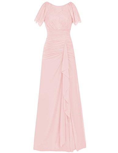 Dresstells Robe de mère de la mariée Robe de demoiselle d'honneur en mousseline longueur ras du sol Rose