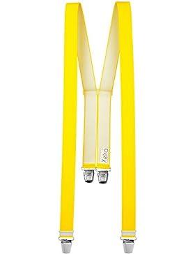 Tirantes de calidad en color liso/Neon y rayas Diseño con 4extra fuerte XL Clips–Fabricado en Alemania–Negro...