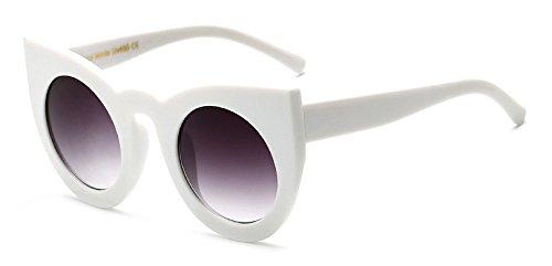 Zokra TM Beliebte Cat Eye Runde Sonnenbrillen f¨¹r Frauen-Marken-Designer-Retro Vintage Leopard Sonnenbrille Weibliche UV400 New Goggles Oculos [wei?]