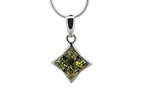 925 Sterling Silver Square Pendant Necklace with Genuine Natural Baltic Green Amber. Chain included