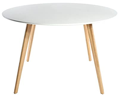 Charles Jacobs Round Retro Lounge Kitchen Dining Table with Solid Oak Wood Legs and White Matt MDF Top for 4 Seats - Knightsbridge Range Furniture produced by Charles Jacobs - quick delivery from UK.