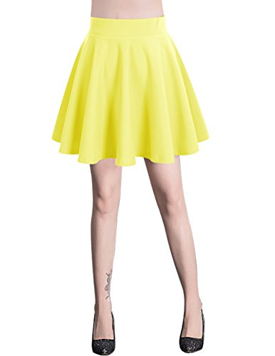 Bridesmay Damen Mini Rock Basic Solid vielseitige dehnbaren informell Minikleid Retro Sexy Rock Faltenrock Yellow L
