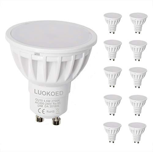 Bombilla Gu10 LED Foco 500lm Equivalente a 50W Luz Blanca Cálida 2700K Regulable LUOKOED®