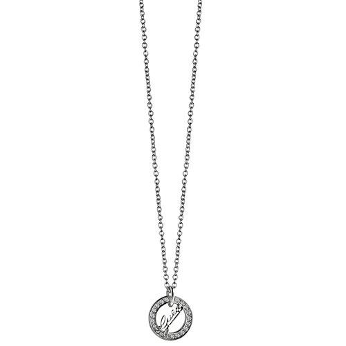Guess Damen-Kette mit Anhänger City of Angeles Halskette Edelstahl Kristall weiß 45 cm-UBN21504