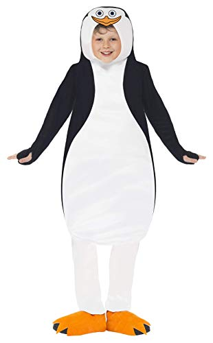 Kostüm Pinguin Schnabel - Smiffys Kinder Unisex Pinguin Kostüm, Tunika aus Schaumstoff und Schuhüberzieher, Die Pinguine aus Madagscar, Größe: M, 20492