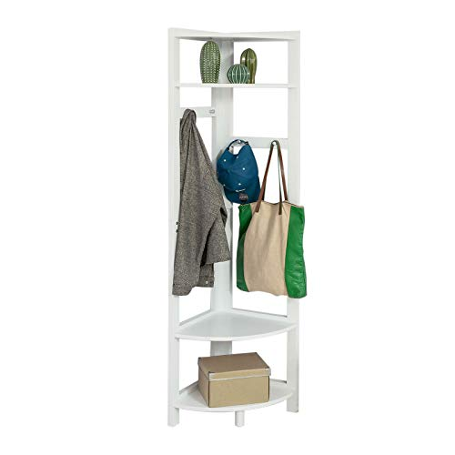 SoBuy®Estantería de almacenamient ,colgador para ropa de esquina,4 estantes y 4 percheros,blanco,H170 cm,FRG250-W,ES