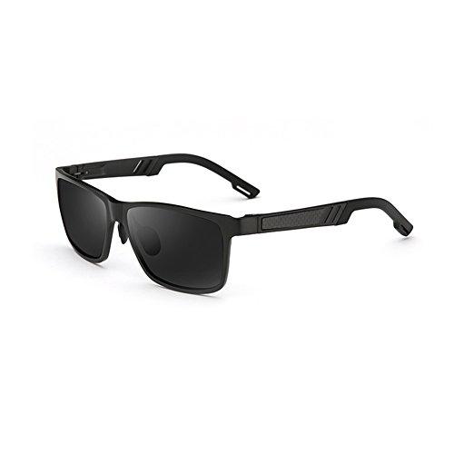 WYYY Sonnenbrillen Schutzbrillen Fahrbrille Männer Quadratische Box Im Freien Klassisch Polarisiertes Licht Sonnenschutz Anti-UVA UV-Schutz 100% (Farbe : Black+black) (135 Black Brille)