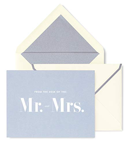 Kate Spade New York Bridal Card Set of 10 with Blank Interior and Envelopes (Mr. and Mrs.)