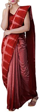 ODISHA HANDLOOM Women's Sambalpuri Cotton Saree With Blouse Piece (red kar_