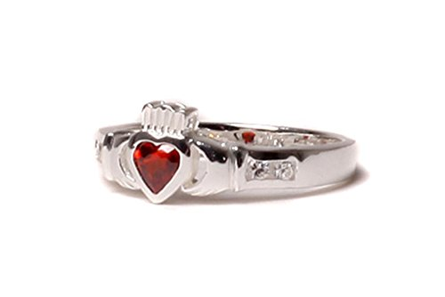Claddagh Ring Sterling-Silber 925 Granat Geburtsstein Januar, Zirkonia (Geburtsstein Januar-ring)