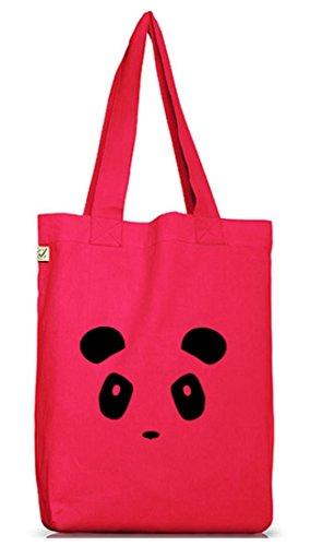 Shirtstreet24, PANDA FACE, Panda Gesicht Jutebeutel Stoff Tasche Earth Positive Hot Pink