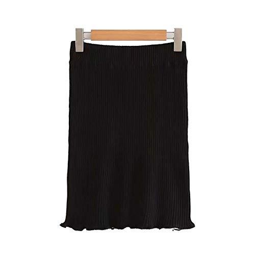 Perlen Knielangen Rock (QYYDBSQ Frauen Schwarz Gestrickter Rock Elastische Taille Perlen Stretchy Weiblichen Beiläufigen Chic Knielangen Röcke L schwarz)