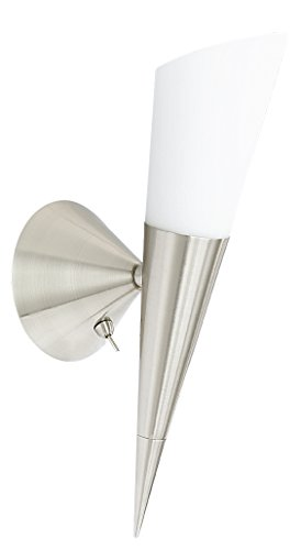 Trio-Leuchten 2502211-07 Wandleuchte,1xE14, max.60W, H:40cm, mit Schalter, Glas opal matt, Nickel matt