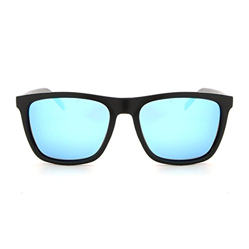 Yiph-Sunglass Sonnenbrillen Mode Neue Art und Weise Männer polarisierte Sonnenbrille Aluminium-Magnesium-quadratische Rahmen-treibende Sonnenbrille UV400 (Color : Black+Blue)