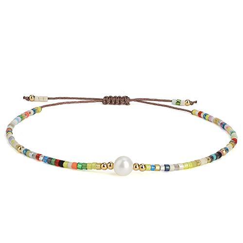 KELITCH Shell Perle Perlen Armbänder Bohe Handgemachte Stränge Armbänder Neue Modeschmuck Armreifen für Frauen Mädchen-Bunte O