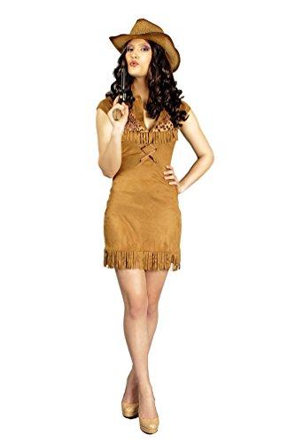 owboy Cowgirl Kostüm Damen Frauen sexy Western-Kostüm braun Kleid Größe 40/42 (Cowgirl Sexy)