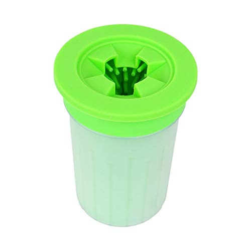 Schmutz Cup Griff (Haustier Hund Pfotenreiniger Haustier Fußwaschbecher Tragbare Outdoor Schlamm Waschen Schmutz Hund Reinigungsbürste Pfotenpflegebecher (Farbe : Grün, Größe : Groß))