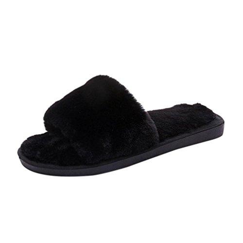 Pantoufles En Coton Pur Longra Black Pour Femmes En Fausse Fourrure