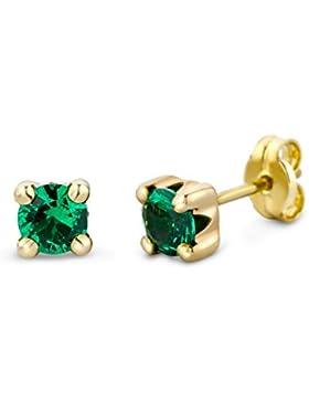 MIORE Damen-Ohrstecker 375 Gelbgold Smaragd grün Rundschliff - MA9142E