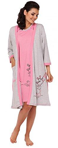 Zeta Ville - Maternité Set Robe de chambre Chemise de nuit girafe - femme - 773c Rose