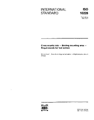 ISO 10228:1991, Cross-country skis -- Binding mounting area -- Requirements for test screws