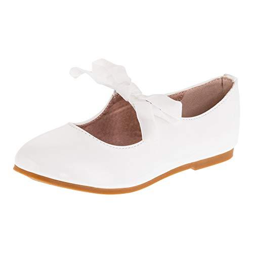 Festliche Kinder Mädchen Ballerinas Schuhe für Kommunion Hochzeit Party Freizeit M482ws Weiß 28 EU