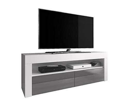 Home-entertainment-schrank (TV-Element TV Schrank TV-Ständer Entertainment Lowboard Luna 140 cm, Körper weiß Matte/Fronten Grau Hochglanz)