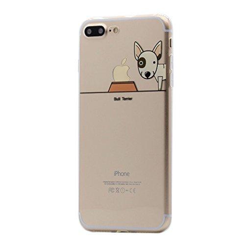iPhone 8 Plus / 7 Plus Funda Carcasa , Keyihan Perro Lindo patrón Suave TPU Silicona Transparente Ultra Delgada y Ligéra Parachoques para Apple iPhone 8 Plus / 7 Plus (Bull Terrier)