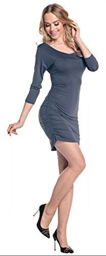 Glamour Empire Damen Figurbetontes Midikleid Seitennähte Tunika Top. 973 Blau Grau