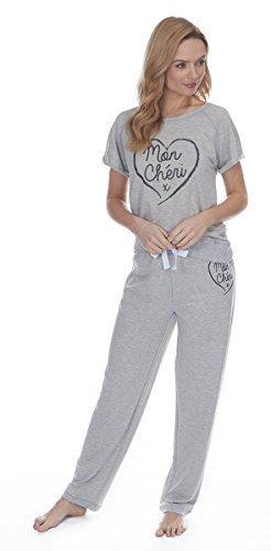 Femmes Bas De Jogging Style Pyjamas Mon Cheri Gris