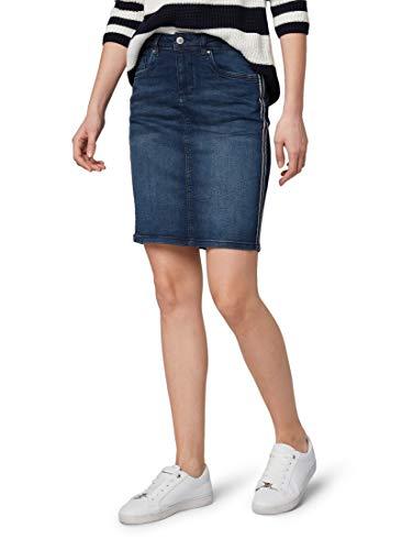 TOM TAILOR für Frauen Röcke Jeansrock mit Tape-Details Used Dark Stone Blue Denim, 38 -